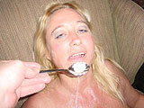 spoon fed sum jizz that didnt hit her mouth!