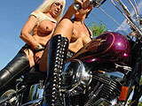 Hot chicks on a motorcycle