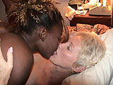 Hot black girl kissing blonde